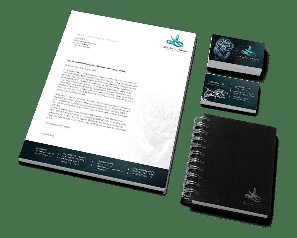 Corporate Design Andrea Baitz, Freelancer, Logo, Visitenkarten, Briefpapier