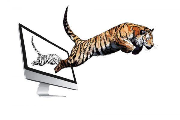 Grober Farbauftrag, Illustration, Digital Painting Tiger