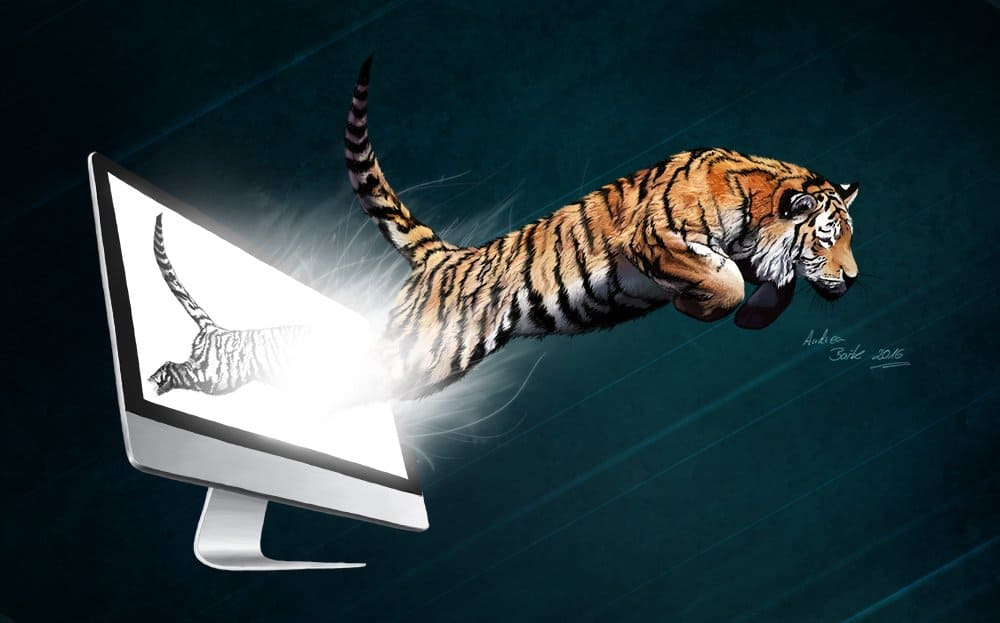 Illustration springender Tiger, Kreativität, Verwirklichung, Digital Painting, Photoshop Painting