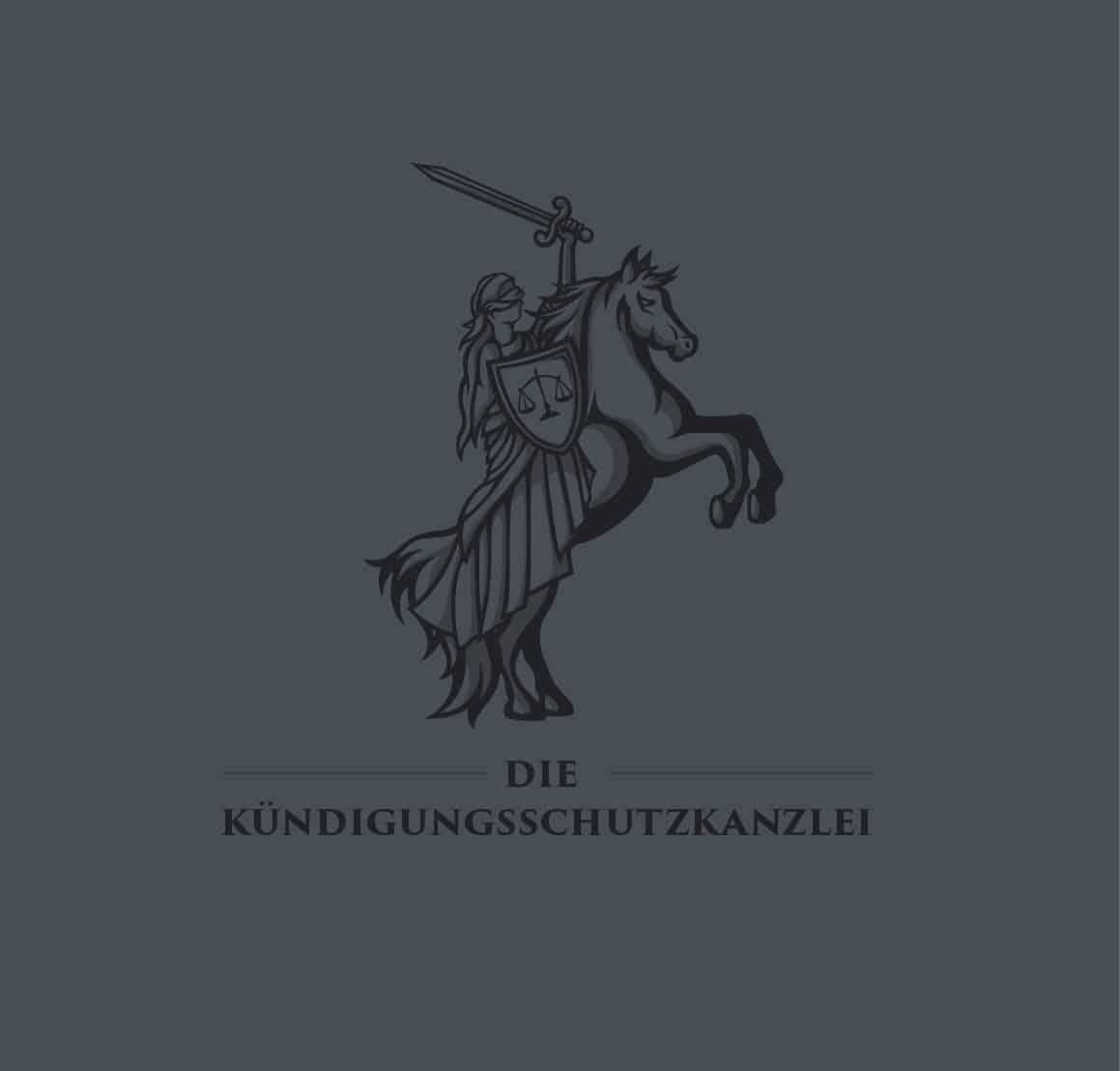 Logo Design Die Kündigungsschutzkanzlei auf dunklem Hintergrund in Dunkelgrau