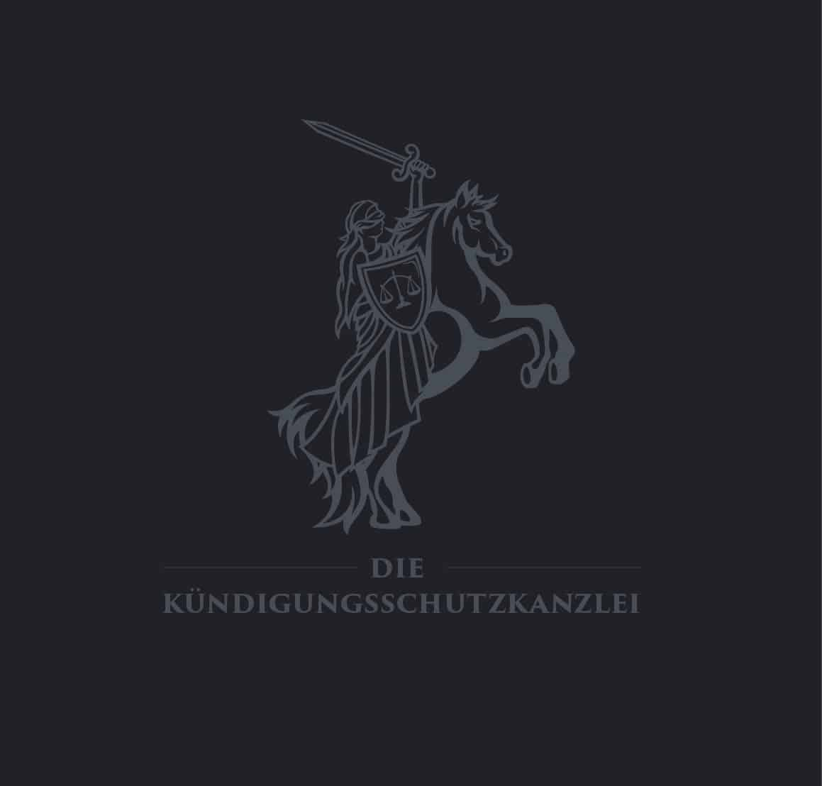Logo Design Die Kündigungsschutzkanzlei auf dunklem Hintergrund in Hellgrau