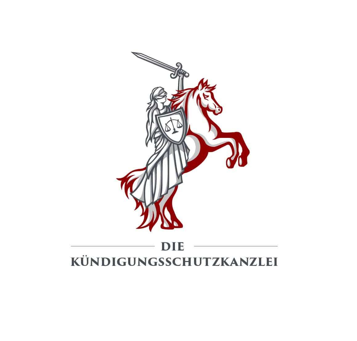 Logo Design Die Kündigungsschutzkanzlei in Rot-Hellgrau, Logodesigner Andrea Baitz, Logo Design aus Eckernförde
