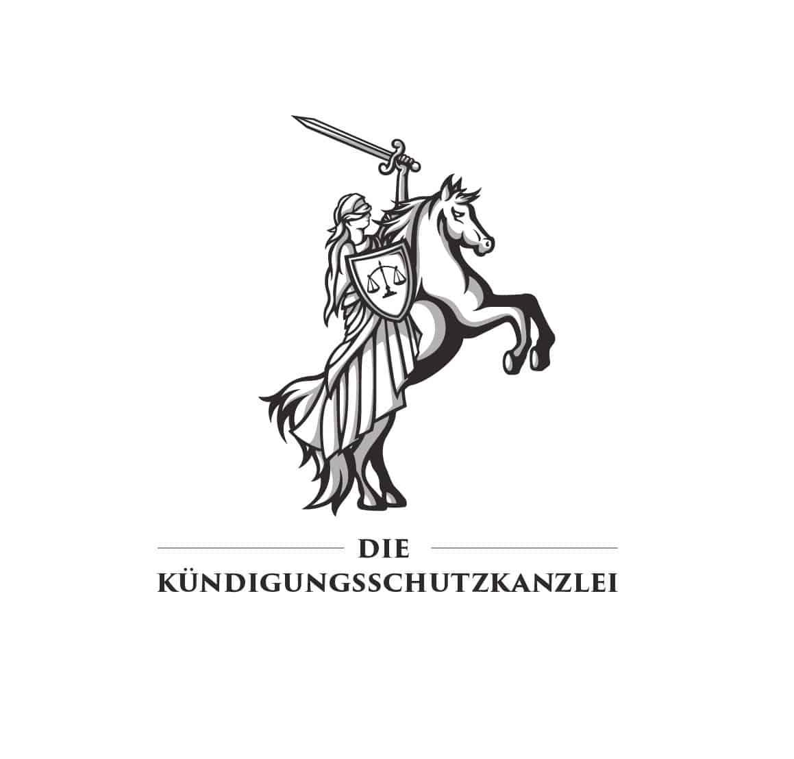 Logo Design Die Kündigungsschutzkanzlei in schwarz-weiß, Logodesigner Andrea Baitz, Logo Design aus Eckernförde