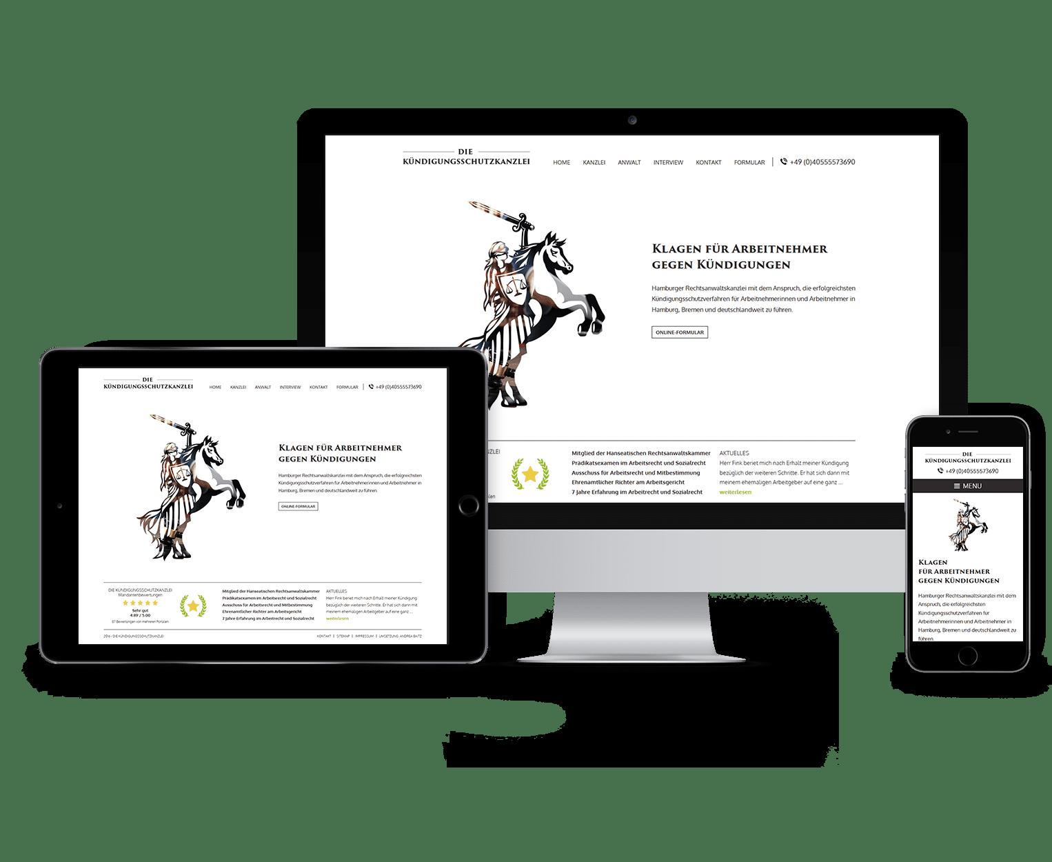 Webdesign, Webseite Die Kündigungsschutzkanzlei, Kanzlei gegen Kündigungen in Hamburg