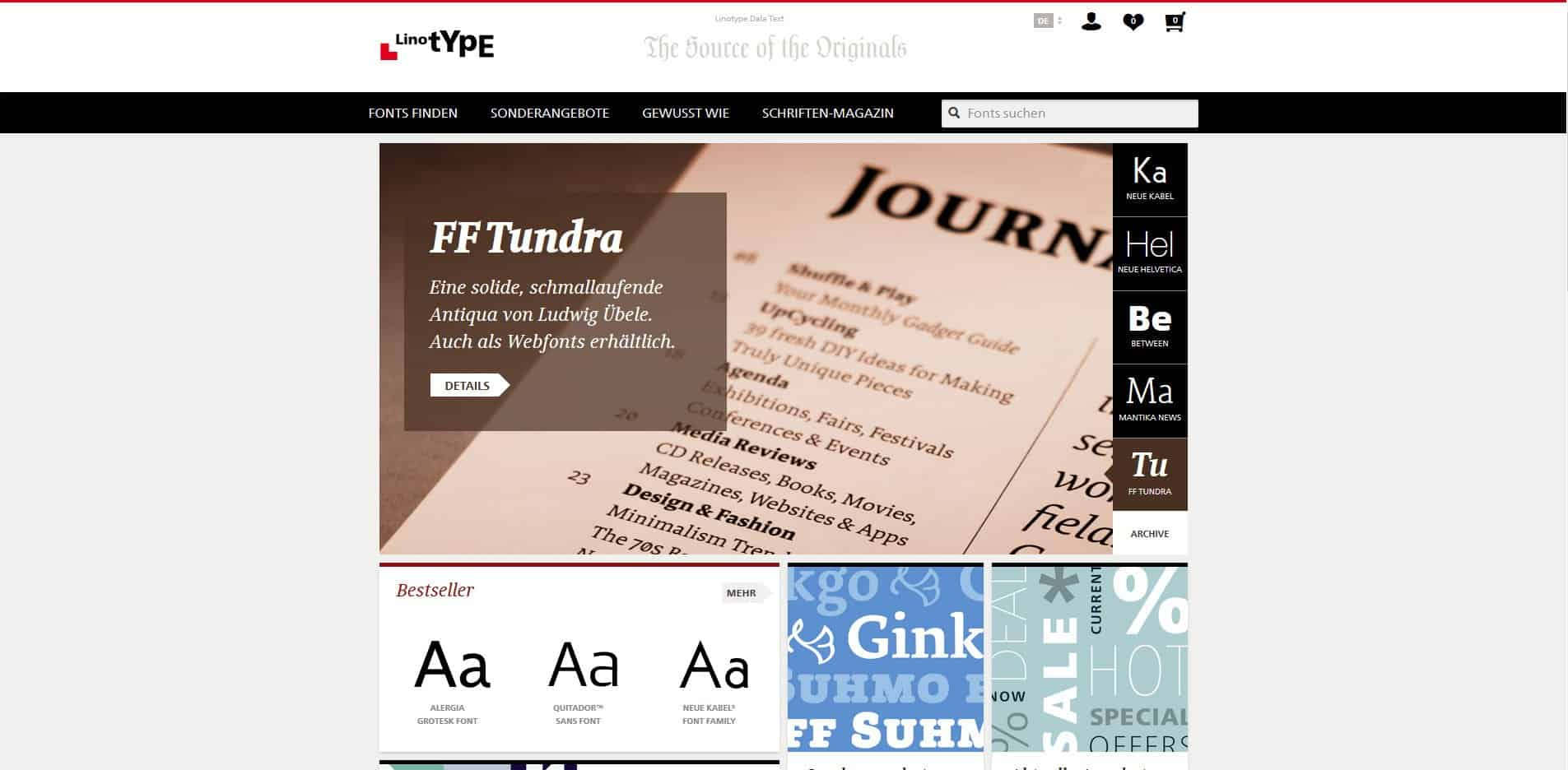 linotype Font Webseite