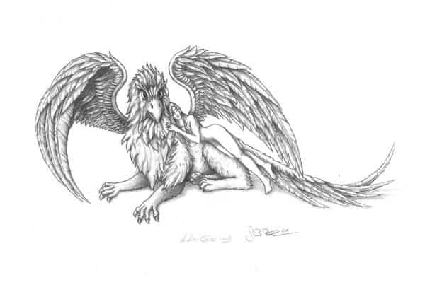 Illustration, Bleistiftzeichnung, Pencil Drawing Greif mit Frau, Gryphon with women