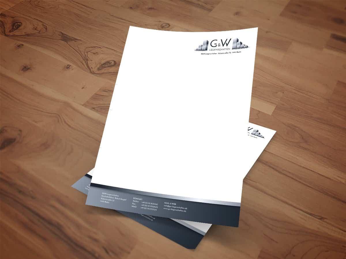 G&W Liegenschaften aus Berlin, Corporate Design, Briefpapier, Business Paper, Designer Andrea Baitz aus Eckernförde, Schleswig-Holstein