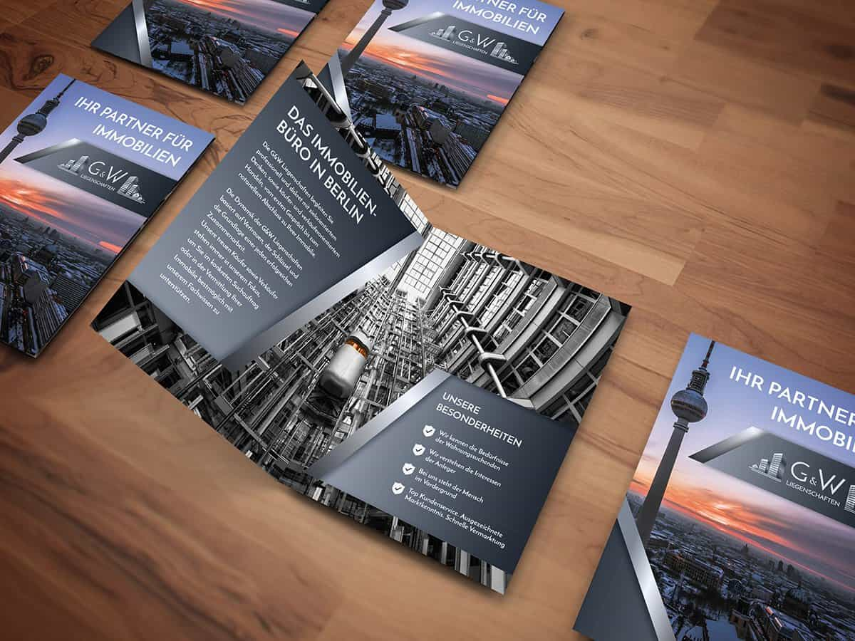 G&W Liegenschaften aus Berlin, Corporate Design, Flyer, Faltblatt, Broschüre, Broschure Design, Designer Andrea Baitz aus Eckernförde, Schleswig-Holstein