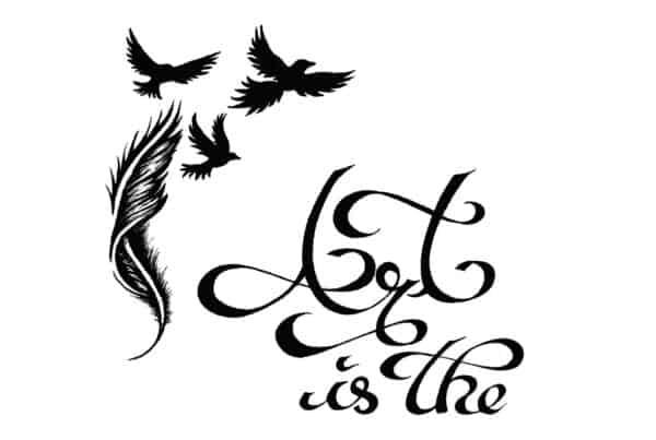 Zitat, Illustration, Ink Drawing, Tuschezeichnung, Calligraphy Free Soul