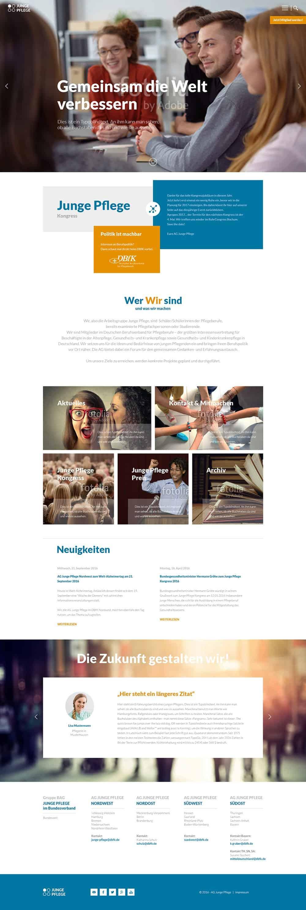 Webdesign Entwicklung BAG Junge Pflege