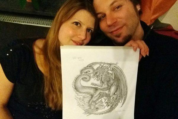 Illustration / Bleistiftzeichnung Yin Yang Drachen / Dragons