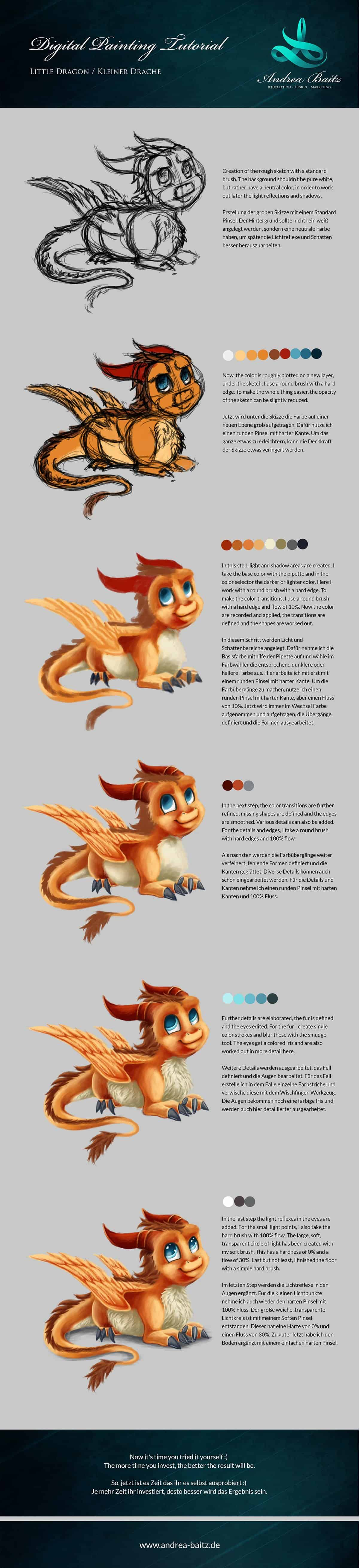Digital Painting Tutorial Little Dragon, Drawing Tutorial, Dragon, Drache, Illustration, Andrea Baitz