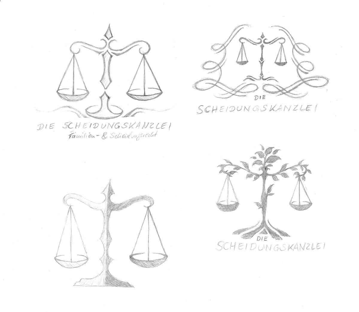 Logo Skizzen für Aljona Fink und die Scheidungskanzlei - Logo Design aus Eckernförde - Logo Designer Andrea Baitz