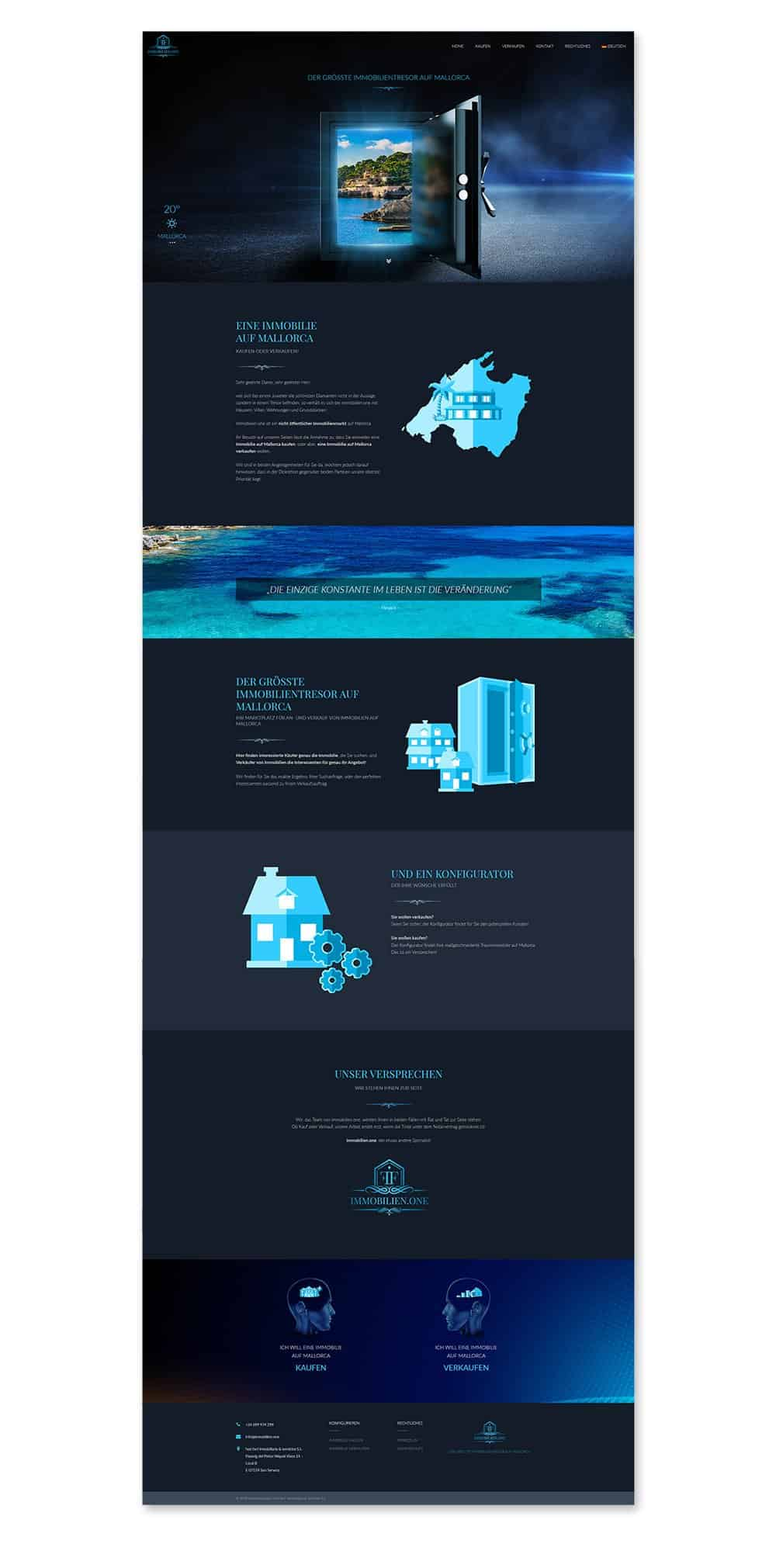 Immobilien.one, Immobilienanbieter, Mallorca, Spanien, Webdesign, Webdesigner Andrea Baitz, Webdesigner Schleswig-Holstein, Eckernförde, Kiel, Webseitenerstellung