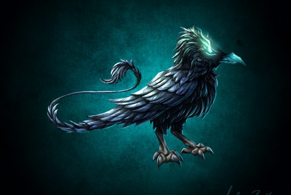 Mystic Raven Illustration, Digital Painting, Artwork, Digital Artwork, Mystic Creature, Character Design, Creature Design, Rabe, Raven, 2D Artwork, Andrea Baitz, German Illustrator, Eckernförde, Schleswig-Holstein, Kiel, Rendsburg, Flensburg, Schleswig