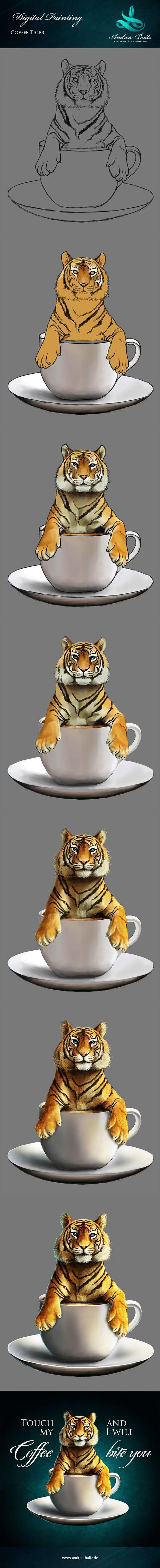 T-Shirt-Design Touch my Coffee and i will bite you, T-Shirt Designer Andrea Baitz, Illustration, Digital Painting, Digitale Illustration, Grafikdesign, Ines Kampf Design, T-Shirt Designer Deutschland, Digital Painting Tutorial
