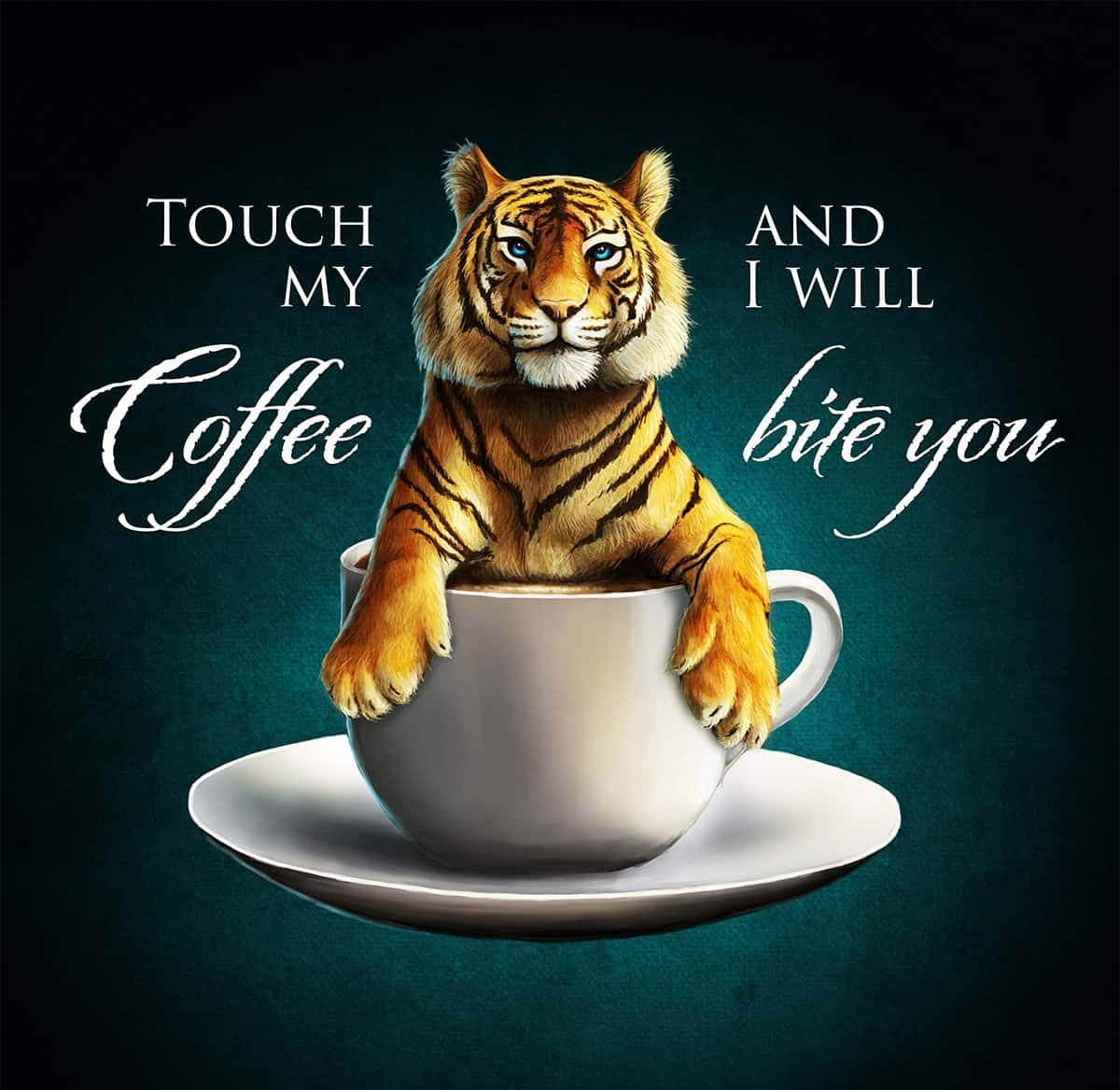 T-Shirt-Design Touch my Coffee and i will bite you, T-Shirt Designer Andrea Baitz, Illustration, Digital Painting, Digitale Illustration, Grafikdesign, Ines Kampf Design, T-Shirt Designer Deutschland