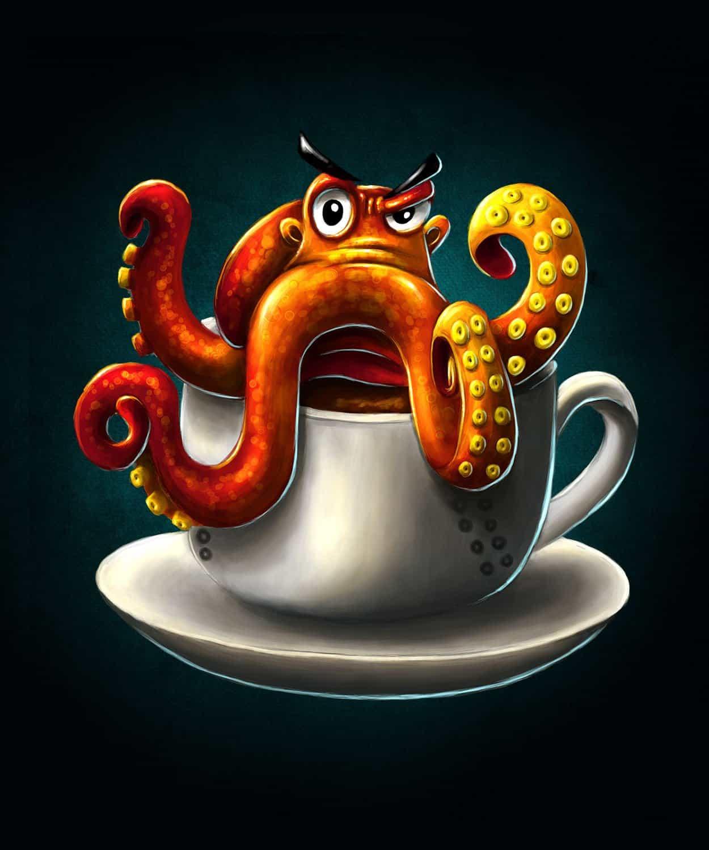 T-Shirt-Design Oktopus- Coffee - Kaffee, T-Shirt Designer Andrea Baitz, Illustration, Digital Painting, Digitale Illustration, Grafikdesign, Ines Kampf Design, T-Shirt Designer Deutschland