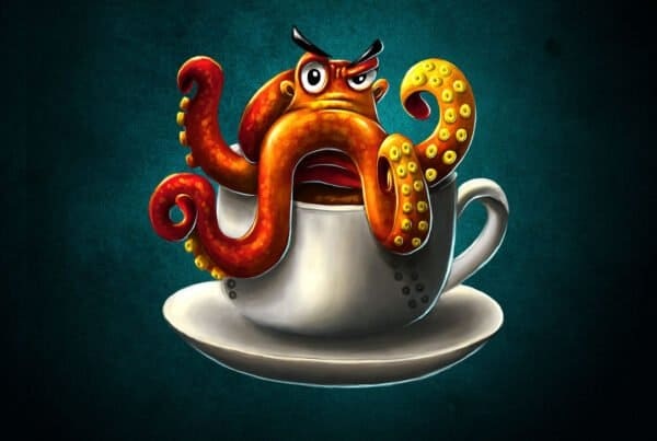 T-Shirt-Design Oktopus- Coffee - Kaffee, T-Shirt Designer Andrea Baitz, Illustration, Digital Painting, Digitale Illustration, Grafikdesign, Ines Kampf Design, T-Shirt Designer Deutschland