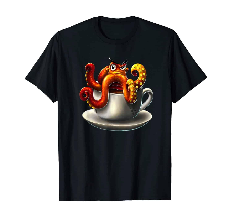 Oktopus Tintenfisch Kaffee Trinker, Kaffee Liebhaber, Morgenmuffel, Kaffeetrinker, Kaffee Spruch T-Shirt Design
