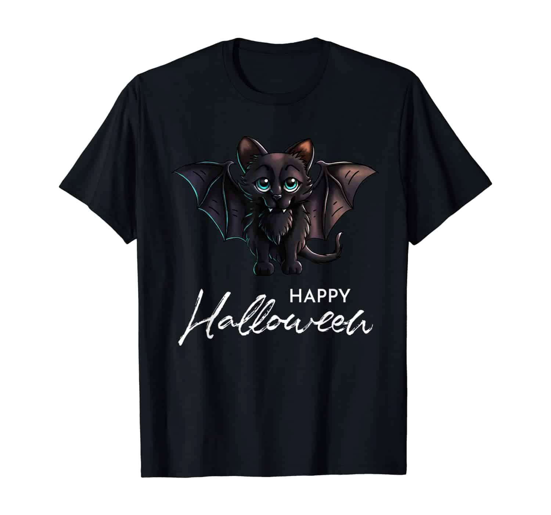 Cute Vampire Black Bat Cat, Halloween T-Shirt, Halloween Art, Halloween Katze, Katzen Fan, Katzen Besitzer, Katzen Mama, Süße Katze, Fledermaus Katze, Halloweenkostüm, Geschenk, Geschenkidee, T-Shirt Design, T-Shirt Designer