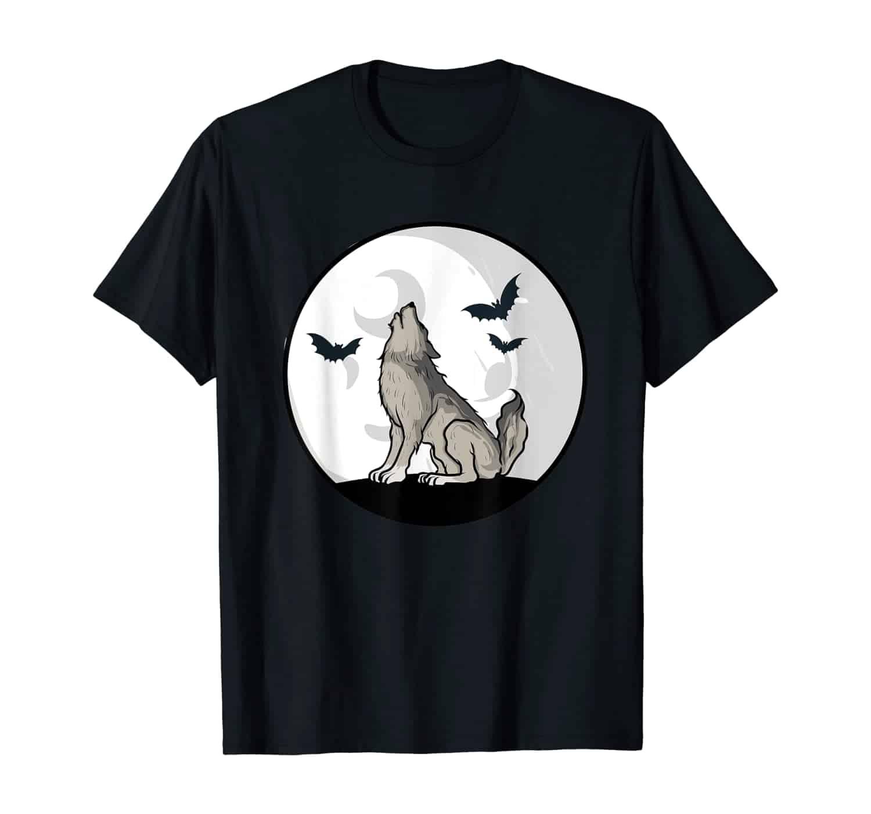 Heulender Wolf, Zombie Wolf, Mond Wolf, Vollmond, Halloween T-Shirt, Fledermaus, Fledermäuse, Halloween Motiv, Wolf Fan, Fledermaus Fan, Zombie Fan, Halloween Kostüm, Halloween T-Shirt, T-Shirt Design, T-Shirt Motiv, T-Shirt Designer, Geschenk, Geschenkidee