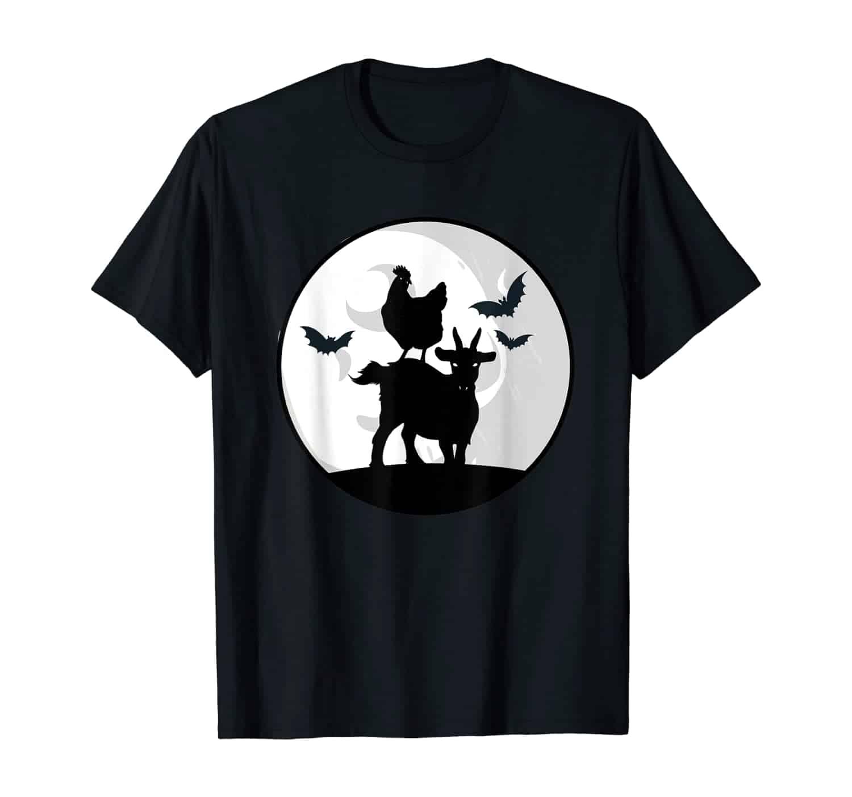 Zombie Farmtiere, Zombie Ziege, Zombie Huhn, Fledermaus, Fledermäuse, Mond, Vollmond, Halloween, Halloween Nacht, Landwirt, Bauer, Halloween Kostüm, Halloween T-Shirt Design, Zombie Fan, Halloween fan, Geschenk, Geschenkidee