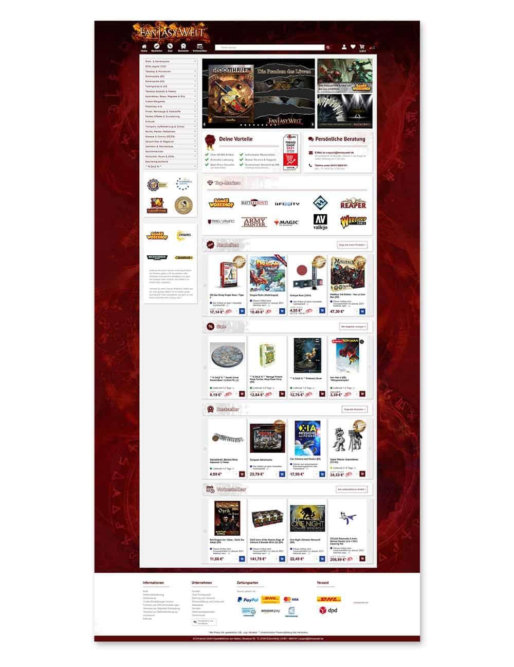 Fantasywelt Onlineshop Webdesign, Logodesign, Andrea Baitz Webdesigner, Dessau-Roßlau, Sachsen-Anhalt, Leipzig, Berlin, Magdeburg