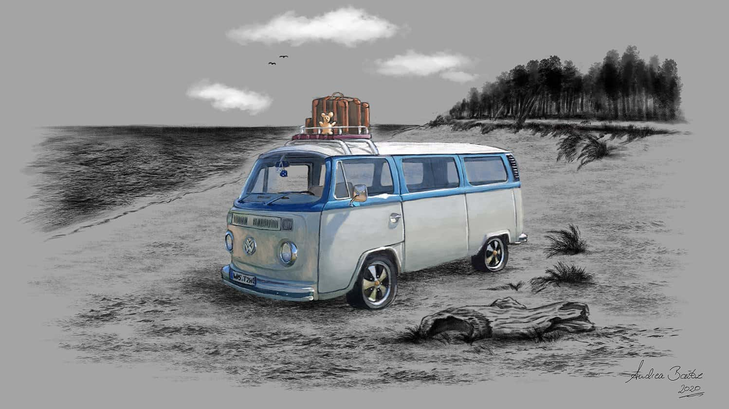 Tattoo VW Bulli, Illustration, Digital Painting, Tattoo Motiv, Strand, Ostsee