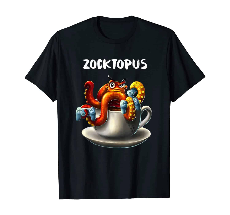 Zocktopus, Oktopus Tintenfisch Kaffee Trinker, Kaffee Liebhaber, Morgenmuffel, Kaffeetrinker, Kaffee Spruch, Gamer Shirt, Zocker Shirt, Gaming Design, T-Shirt Design